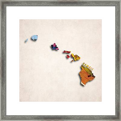 Hawaii Map Art - Painted Map Of Hawaii Framed Print by World Art Prints And Designs