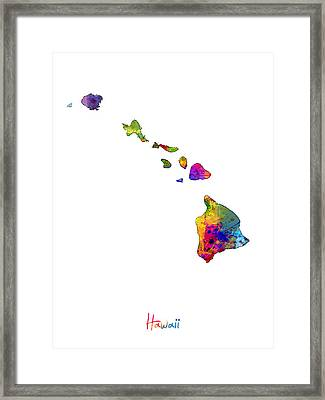 Hawaii Map Framed Print