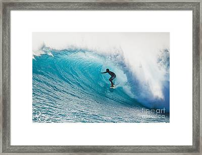 Hawaii, Maui, Laperouse, Professional Surfer Albee Layer In The Barrel. Framed Print by MakenaStockMedia