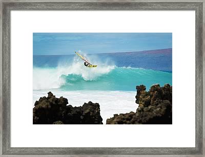 Hawaii, Maui, Laperouse, Professional Windsurfer Kail Lenny Riding A Large Wave At Laperouse Bay. Framed Print by MakenaStockMedia