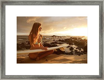 Hawaii, Maui, Makena, Surfer Girl Sitting On Sand At Sunset Framed Print by MakenaStockMedia