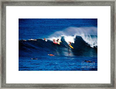 Hawaii Oahu Waimea Bay Surfers Framed Print by Anonymous