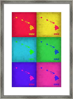 Hawaii Pop Art Map 1 Framed Print by Naxart Studio
