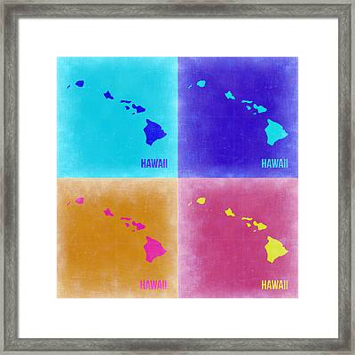 Hawaii Pop Art Map 2 Framed Print by Naxart Studio