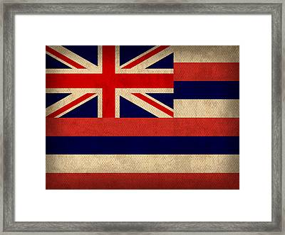 Hawaii State Flag Art On Worn Canvas Framed Print