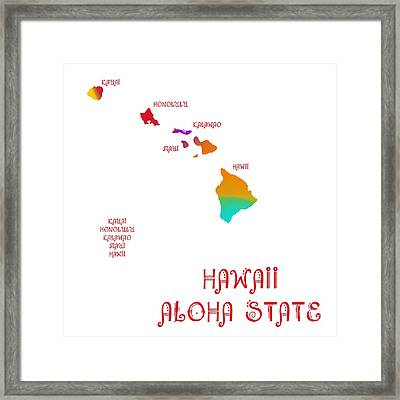 Hawaii State Map Collection 2 Framed Print by Andee Design