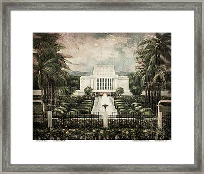 Hawaii Temple Laie Antique Framed Print