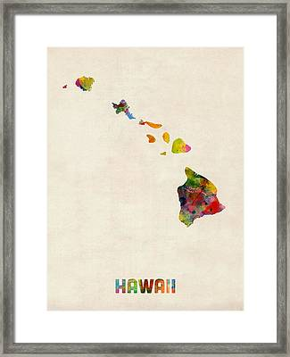 Hawaii Watercolor Map Framed Print by Michael Tompsett