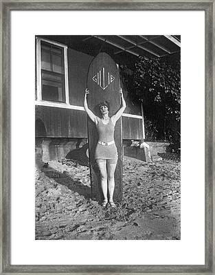 Hawaii Woman Surfer Framed Print by Underwood Archives