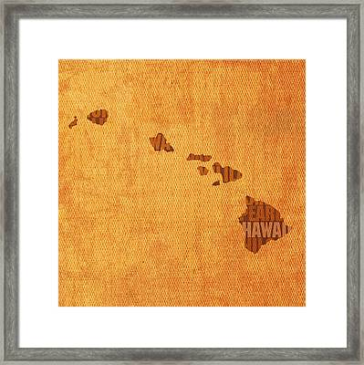 Hawaii Word Art State Map On Canvas Framed Print