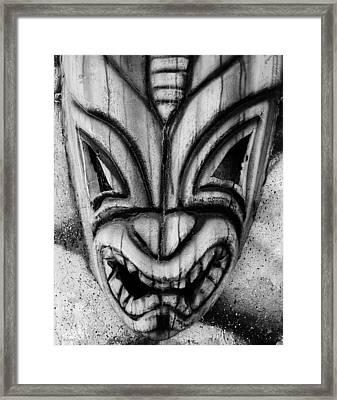 Hawaiian B W Mask Framed Print by Rob Hans