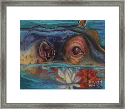 Hawaiian Hippo Framed Print by Donna Chaasadah