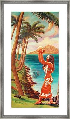 Hawaiian Hula Wahine Framed Print