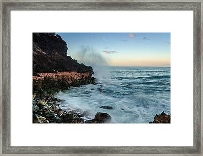 Framed Print featuring the photograph Hawaiian Lava Rocks And Crashing Waves by RC Pics