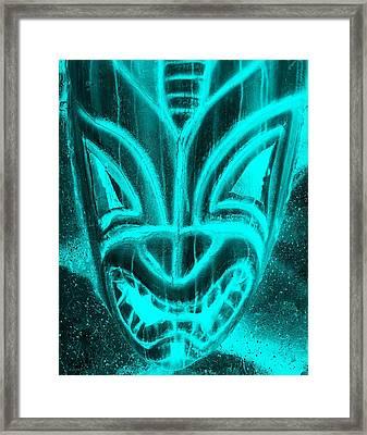 Hawaiian Mask Negative Aquamarine Framed Print by Rob Hans
