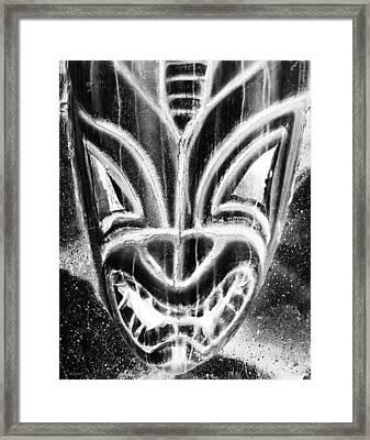 Hawaiian Mask Negative Black And White Framed Print by Rob Hans