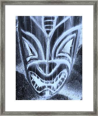 Hawaiian Mask Negative Cyan Framed Print by Rob Hans