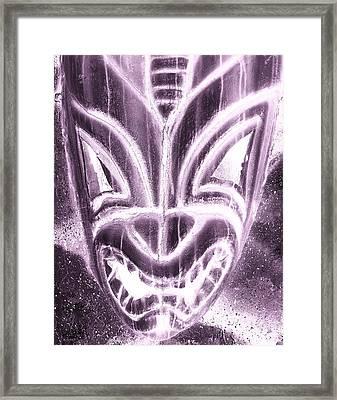 Hawaiian Mask Negative Pink Framed Print by Rob Hans