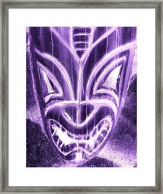 Hawaiian Mask Negative Purple Framed Print by Rob Hans