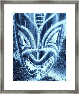 Hawaiian Mask Negative Turquoise Framed Print by Rob Hans