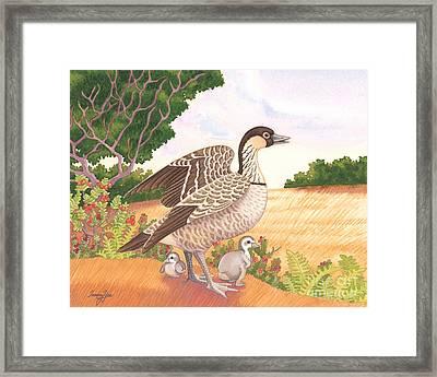 Hawaiian Nene Goose And Goslings Framed Print by Tammy Yee