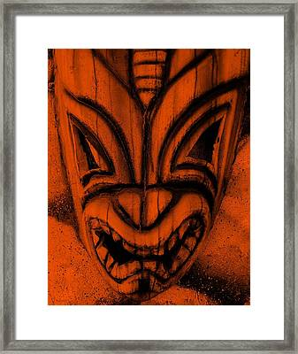 Hawaiian Orange Mask Framed Print by Rob Hans
