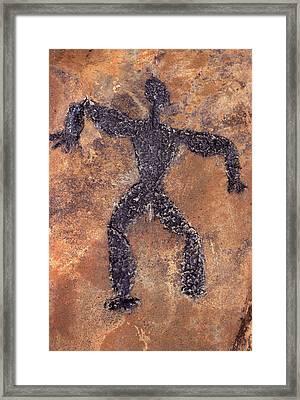 Hawaiian Petroglyph Of Man On Rock Framed Print
