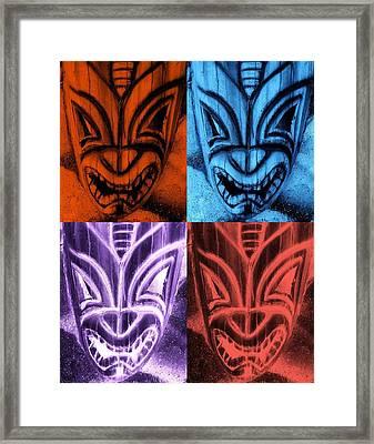 Hawaiian Quad Color Masks Framed Print by Rob Hans
