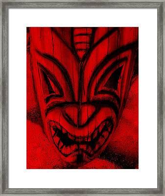 Hawaiian Red Mask Framed Print by Rob Hans