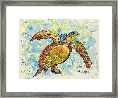 Framed Print featuring the painting Hawaiian Sea Turtle 2 by Darice Machel McGuire