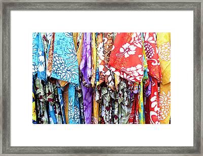 Hawaiian Shirts Display At Market Place Framed Print by Daisy Gilardini