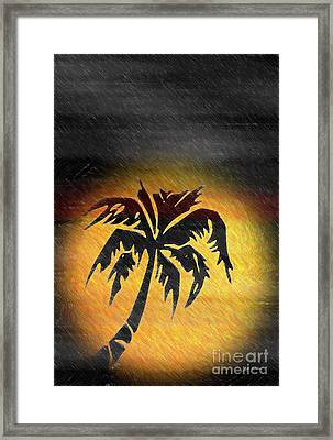 Hawaiian Sunrise And Rain Abstract Framed Print