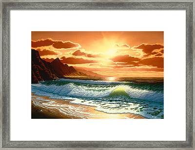 Hawaiian Sunset Framed Print by Del Malonee