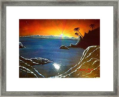 Framed Print featuring the painting Hawaiian Sunset by Michael Rucker