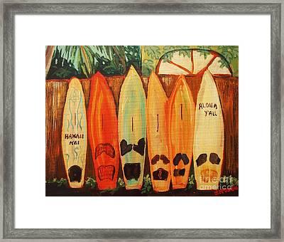 Hawaiian Surfboards Framed Print