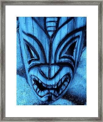 Hawaiian Turquoise Mask Framed Print by Rob Hans