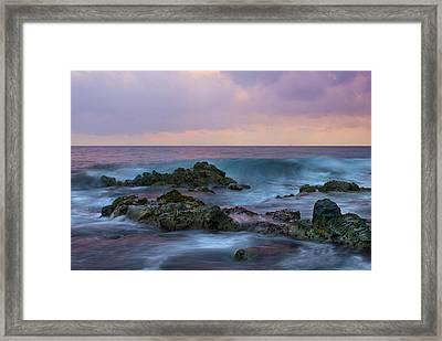 Hawaiian Waves At Sunset Framed Print