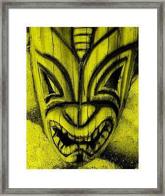 Hawaiian Yellow Mask Framed Print by Rob Hans