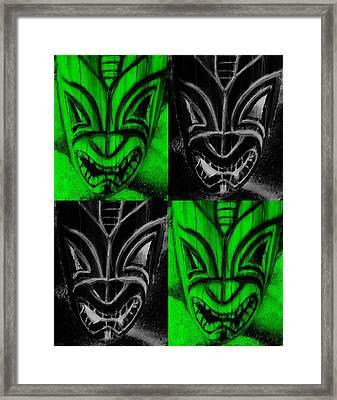 Hawaiian Masks Black Green Framed Print by Rob Hans