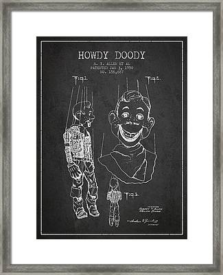 Hawdy Doody Patent From 1950 - Charcoal Framed Print