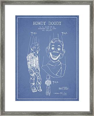 Hawdy Doody Patent From 1950 - Light Blue Framed Print