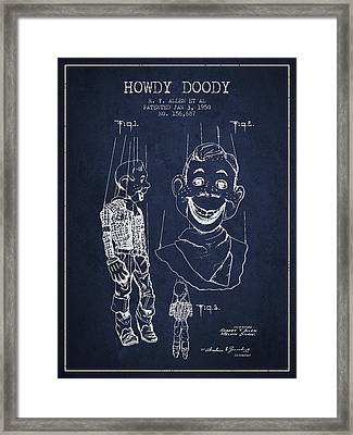 Hawdy Doody Patent From 1950 - Navy Blue Framed Print
