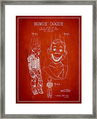 Hawdy Doody Patent From 1950 - Red Framed Print