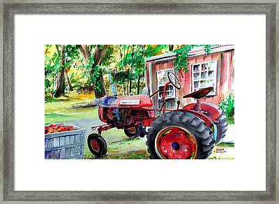 Hawk Hill Apple Tractor Framed Print by Scott Nelson