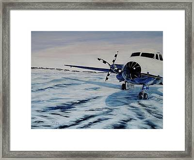 Framed Print featuring the painting Hawker - Airplane On Ice by Marilyn  McNish