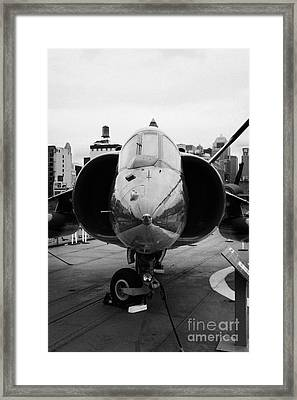 Hawker Siddeley Av 8 8c Harrier On Display On The Flight Deck At The Intrepid Sea Air Space Museum Framed Print by Joe Fox