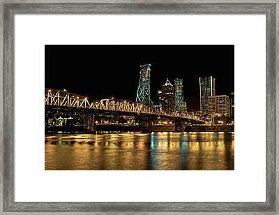 Hawthorne Bridge Over Willamette River Framed Print