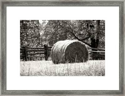 Hay Bale In A Farm Field Framed Print by Heather Allen