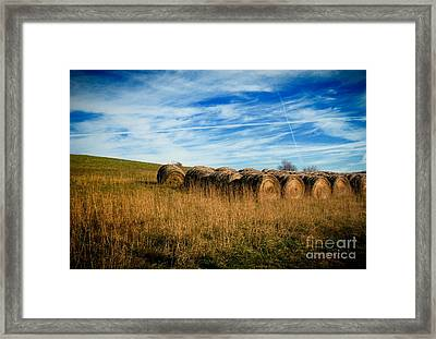 Hay Bales And Contrails Framed Print