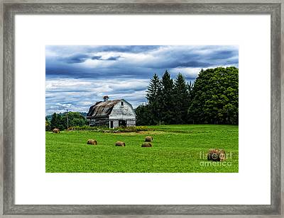 Hay Bales Barn Stormy Sky Framed Print by Thomas R Fletcher